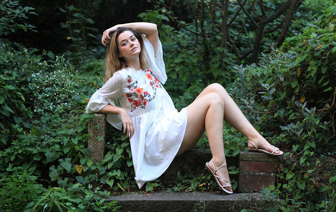 Фотографии Lizzy Поза молодая женщина Ноги сидящие Взгляд платья позирует девушка Девушки молодые женщины ног сидя Сидит смотрит смотрят Платье