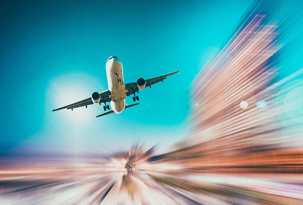 Картинка Самолеты Пассажирские Самолеты Взлет Полет Авиация летящий