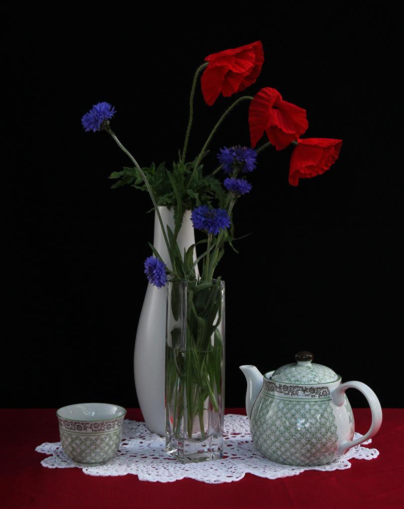 Картинки мак Цветы Чайник вазе Чашка Васильки Натюрморт  для мобильного телефона Маки цветок Ваза вазы чашке