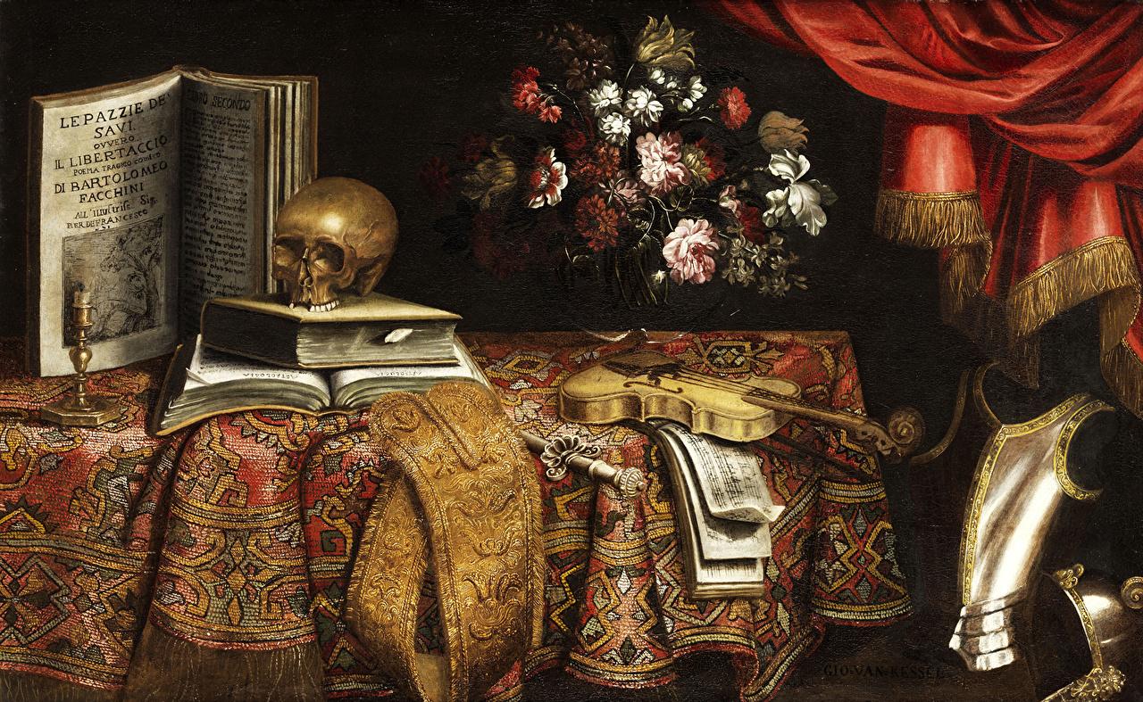 Фото Черепа Скрипки Pier Francesco Cittadini, Vanitas, Stillleben книги картина скрипка Книга Живопись