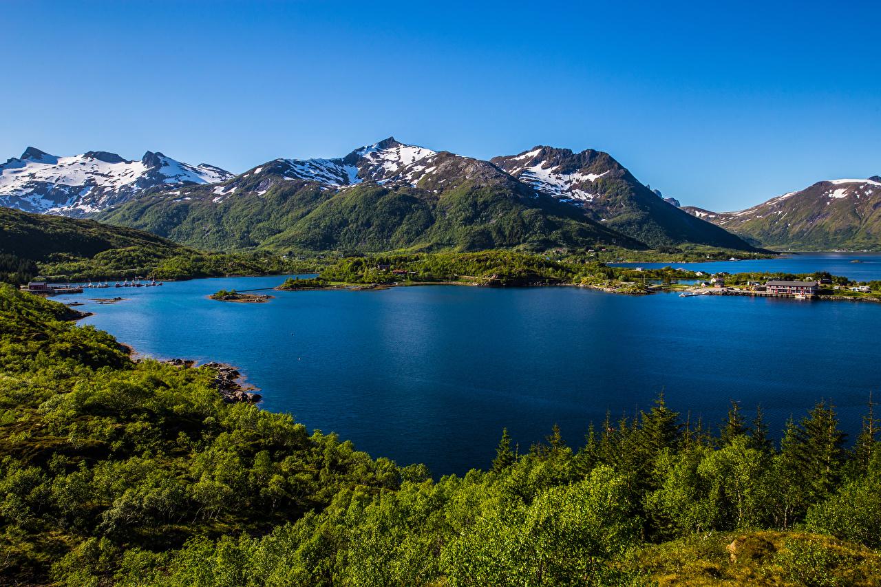 Картинка Лофотенские острова Норвегия Горы Природа Пейзаж гора