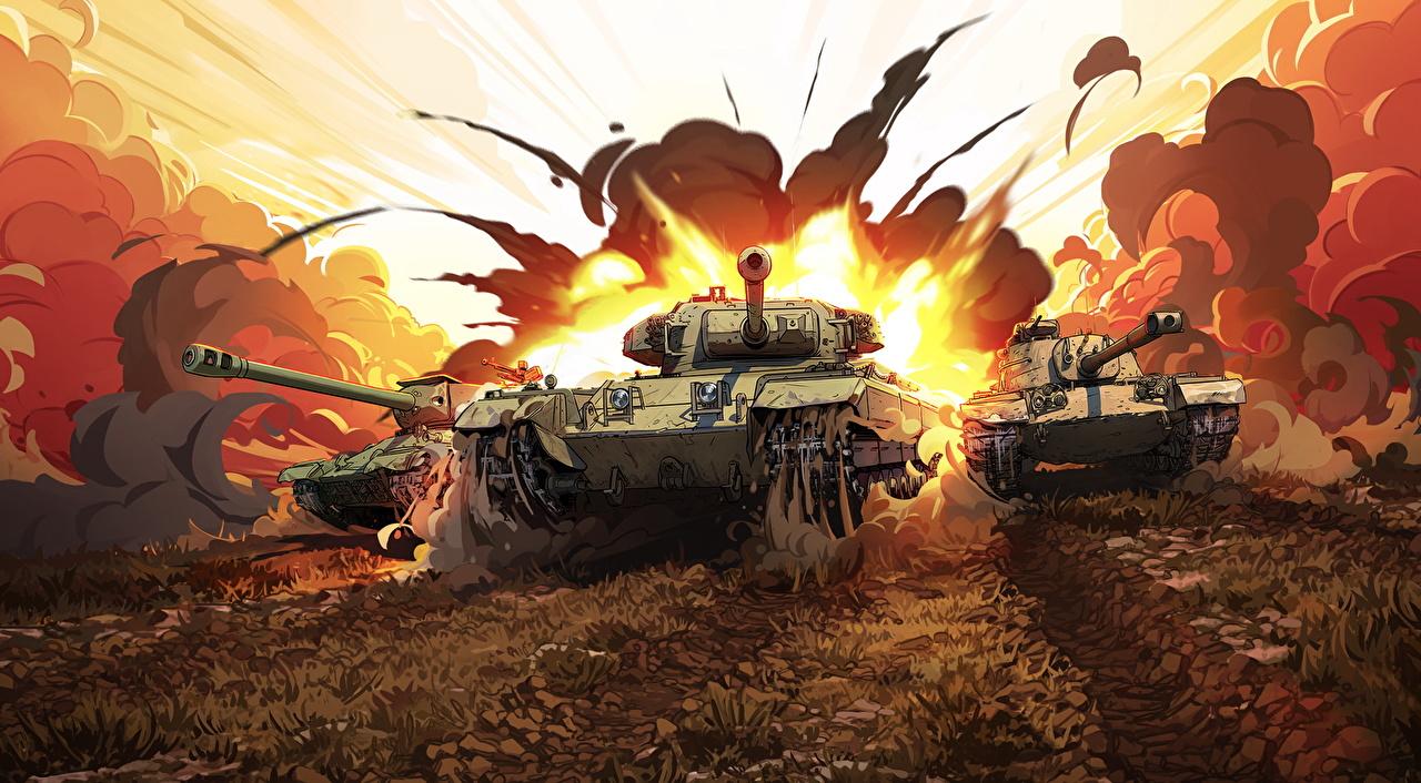 Фотография World of Tanks Танки Взрывы Американские Русские Британский Игры Рисованные WOT российские