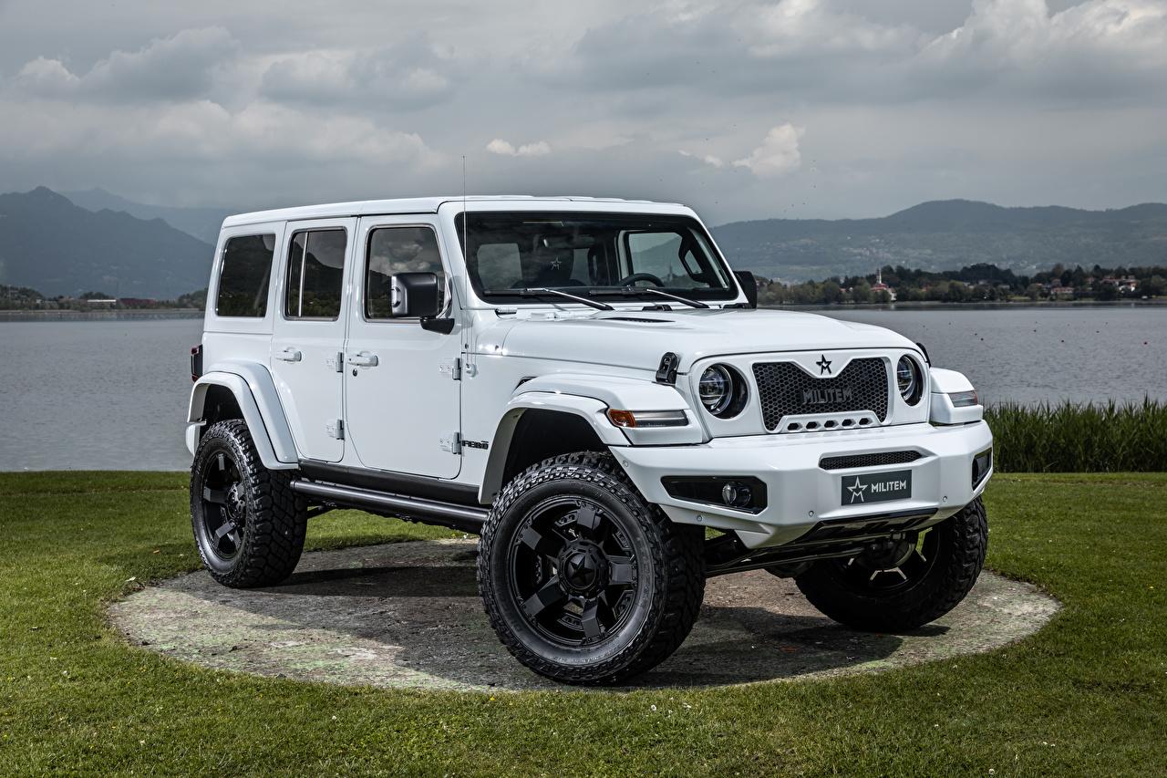 Обои для рабочего стола Jeep Стайлинг SUV Wrangler Unlimited Militem Ferōx, 2019-- белая машина Джип Тюнинг Внедорожник Белый белые белых авто машины Автомобили автомобиль