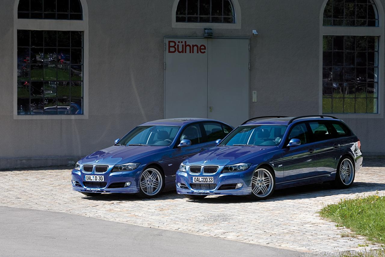Картинки БМВ Alpina B3 S Bi-Turbo Cabrio, Alpina B3 S Bi-Turbo Coupe Синий вдвоем Авто Металлик BMW 2 Двое Машины Автомобили