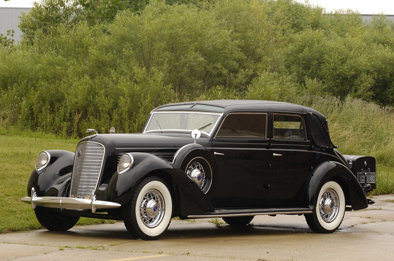 Картинки Lincoln 1938 Model K Semi-Collapsible Cabriolet by Brunn Ретро Черный Металлик Автомобили Винтаж старинные Авто Машины