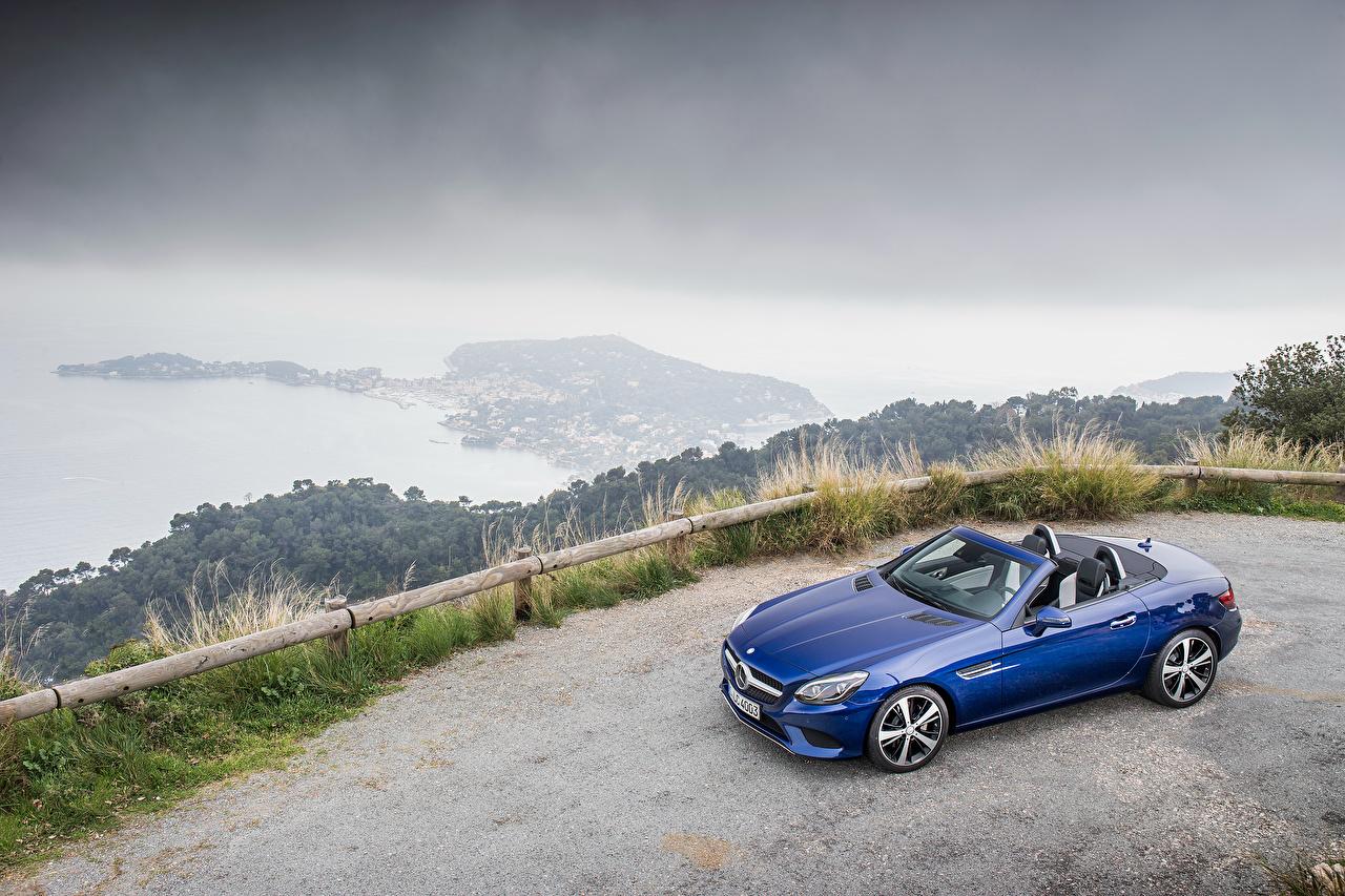 Обои для рабочего стола Mercedes-Benz 2016 SLC 300 Кабриолет синяя авто Металлик Мерседес бенц кабриолета синих синие Синий машина машины автомобиль Автомобили