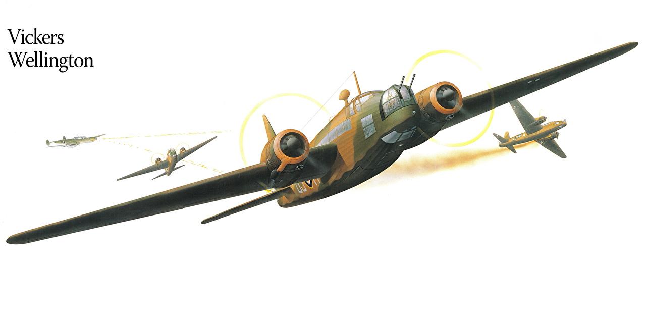 Фото Самолеты Vikers Wellington Рисованные Авиация