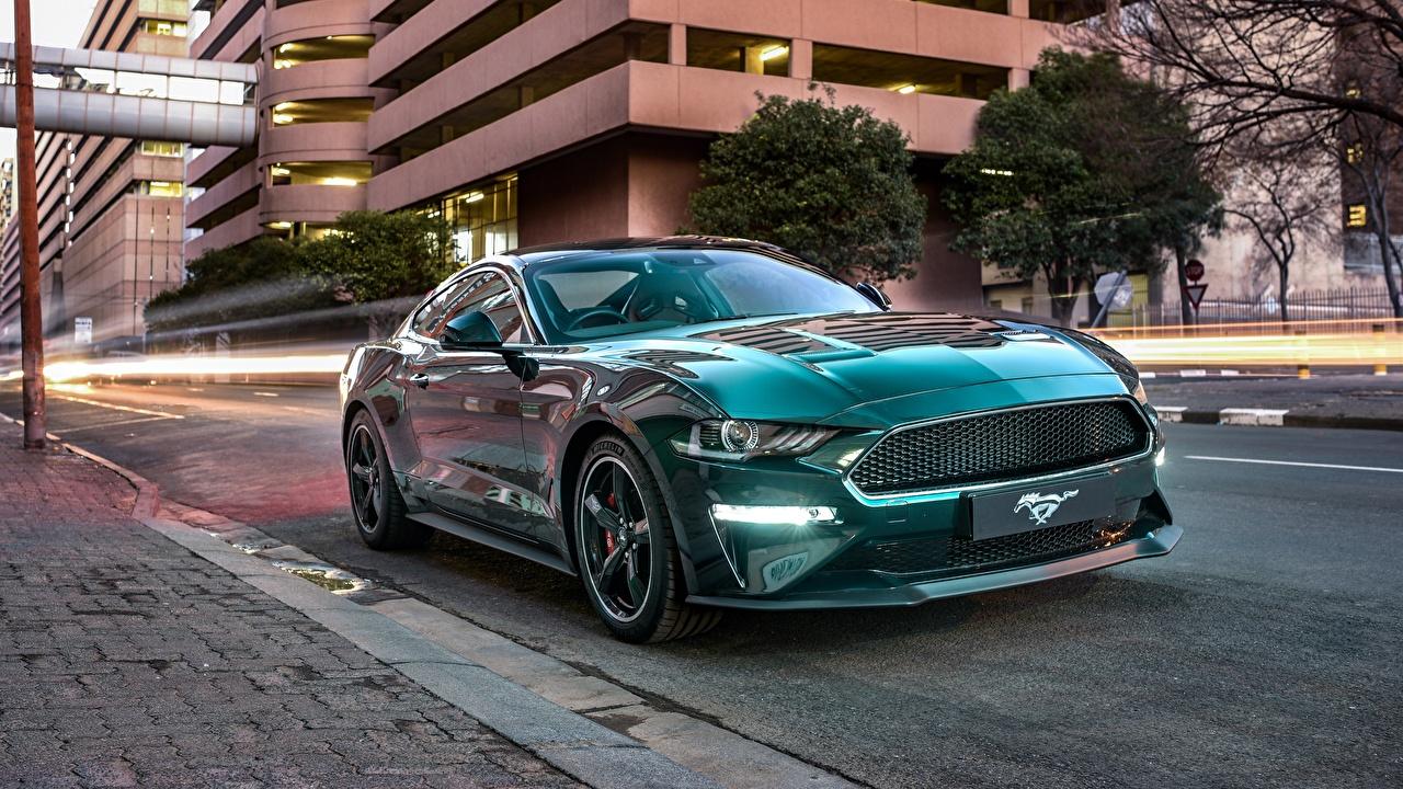 Фото Ford Mustang Bullitt 2019 зеленые авто Форд зеленых Зеленый зеленая машина машины автомобиль Автомобили