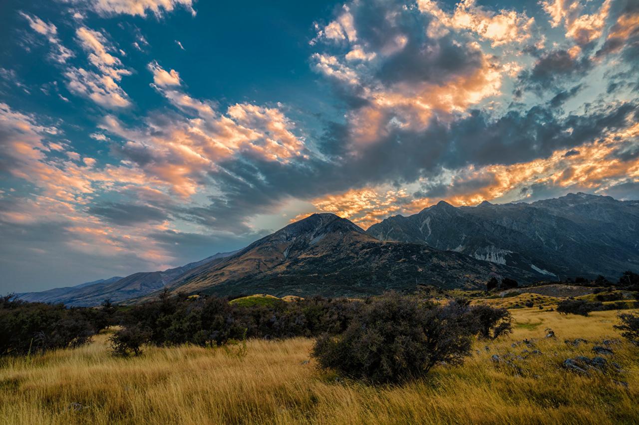 Фотографии Новая Зеландия Aoraki National Park гора Природа Небо Парки Облака Горы парк облако облачно