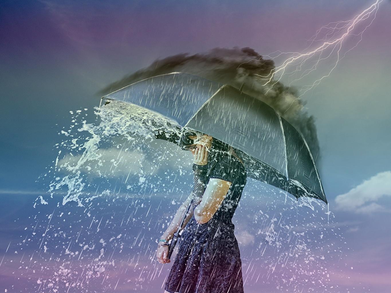 Обои дождь, зонт, капли. Разное foto 19