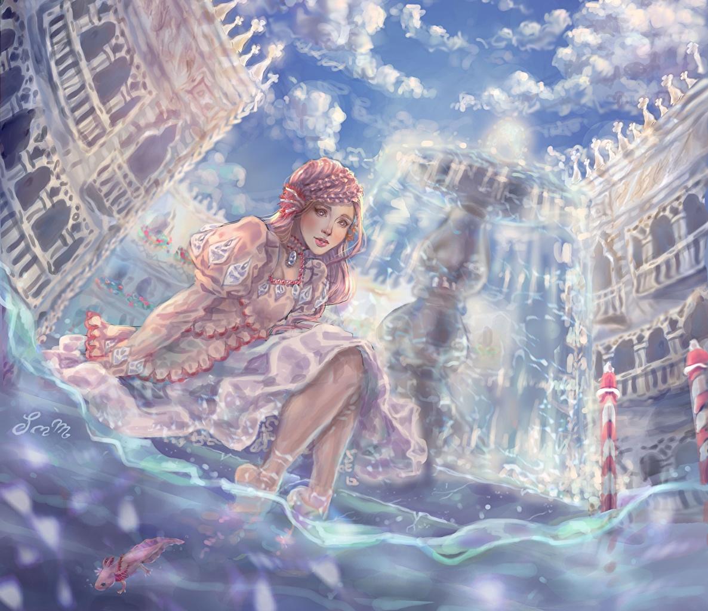 Фотография Фэнтези молодая женщина воде Фантастический мир Здания Девушки девушка Фантастика молодые женщины Вода Дома