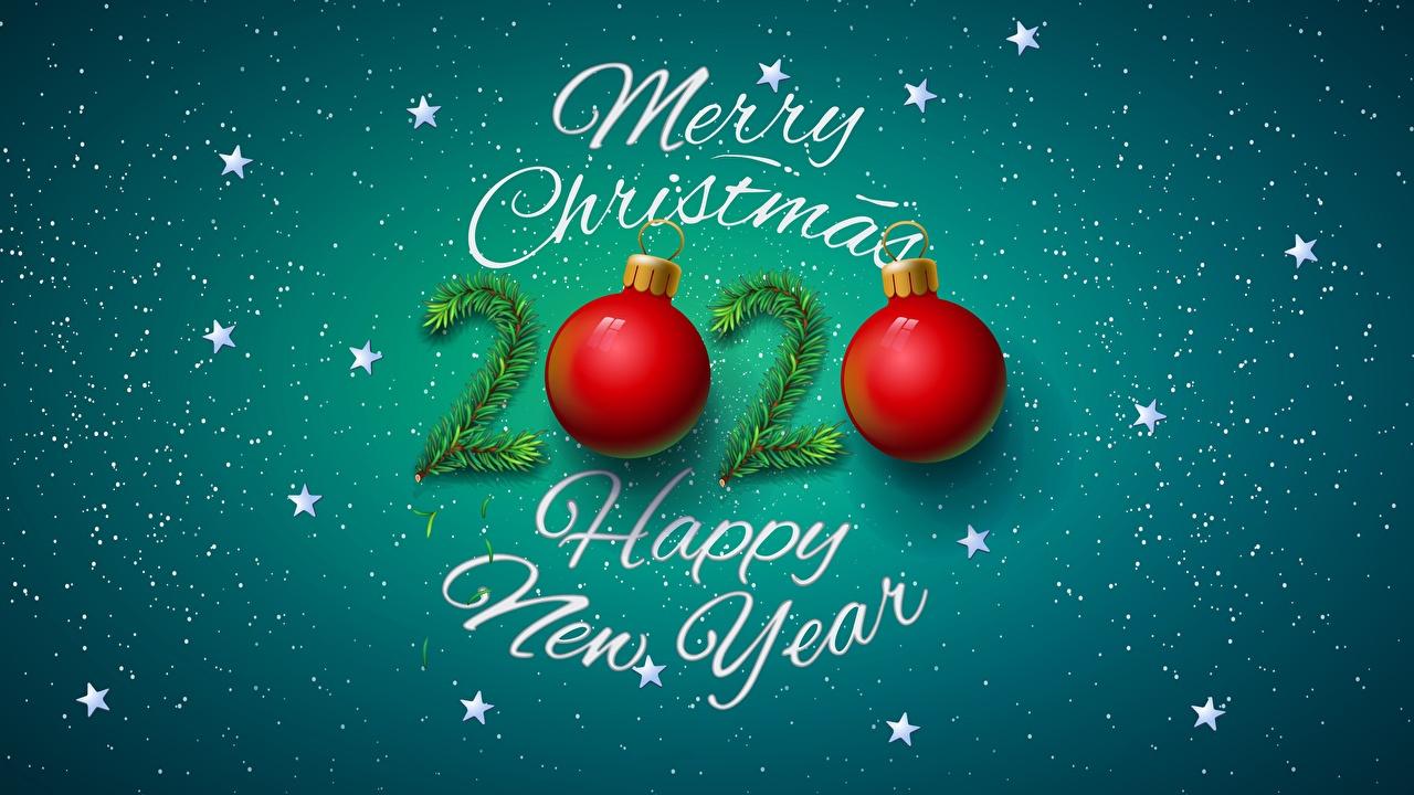 Картинка 2020 Новый год Звездочки инглийские слова Шарики Рождество английская Английский текст Слово - Надпись Шар