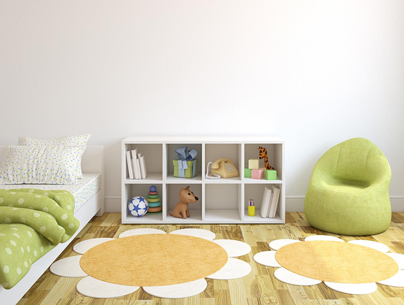 Обои для рабочего стола Детская комната 3д Интерьер Кресло игрушка Дизайн 3D Графика Игрушки дизайна