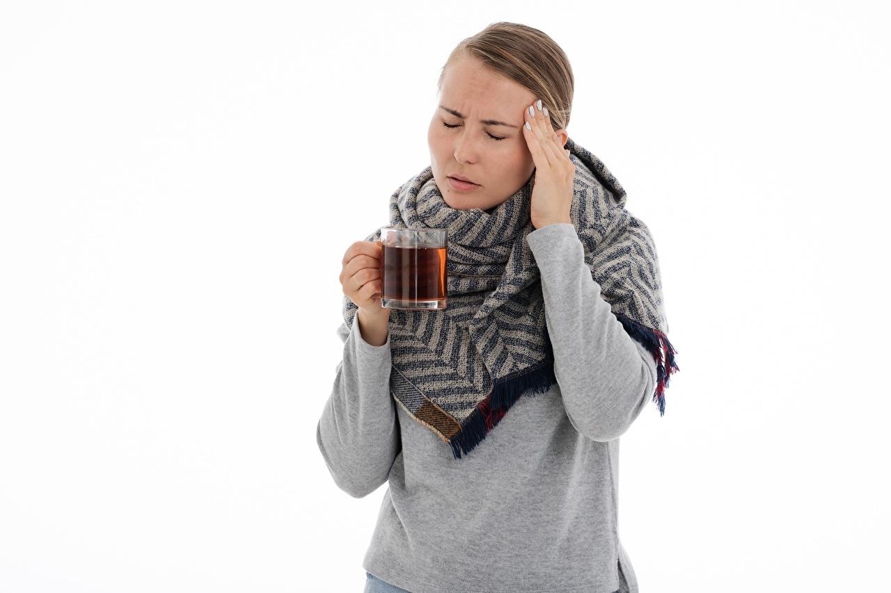 Фотография Шатенка Шарф headache Чай молодые женщины рука кружки белом фоне шатенки шарфе шарфом девушка Девушки молодая женщина Руки кружке Кружка Белый фон белым фоном