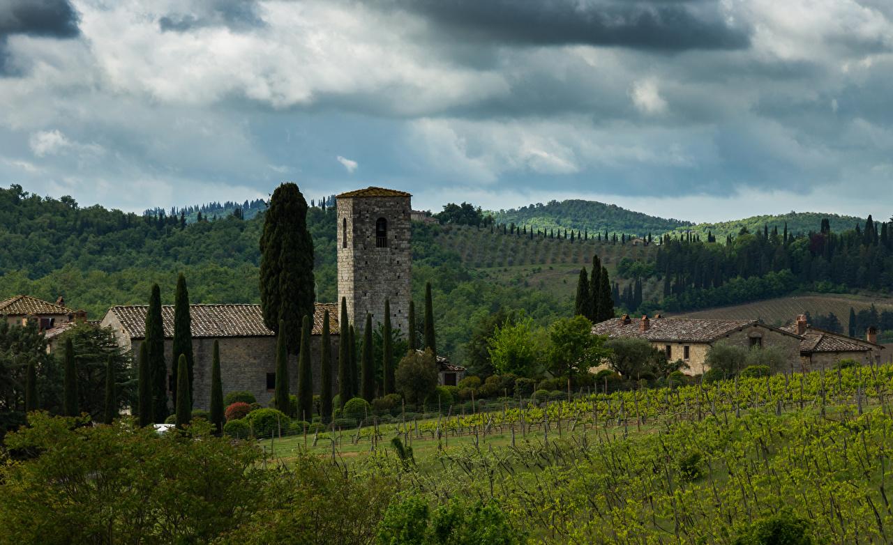 Фотография Тоскана Италия Chianti холм Поля Дома Города Холмы холмов город Здания