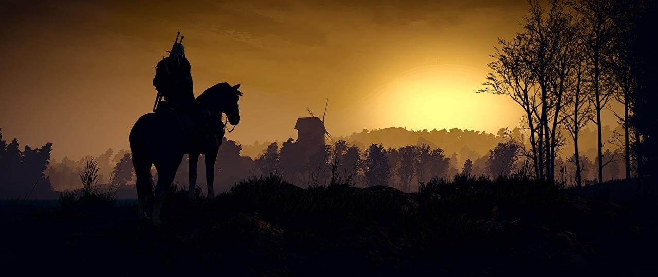 Обои The Witcher 3: Wild Hunt Лошади Силуэт 3D Графика Игры Ведьмак 3: Дикая Охота