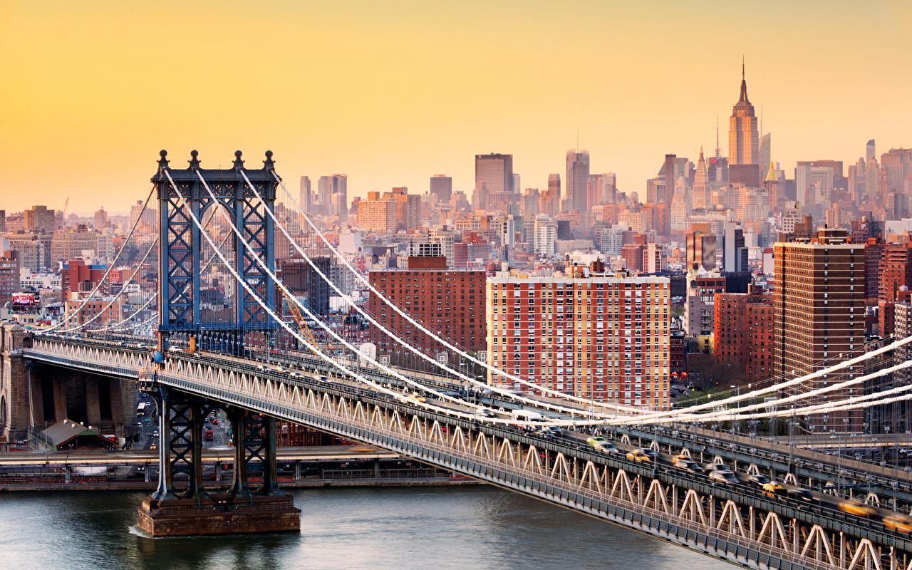 Обои для рабочего стола Нью-Йорк Манхэттен америка Brooklyn Bridge мост Города США штаты Мосты город