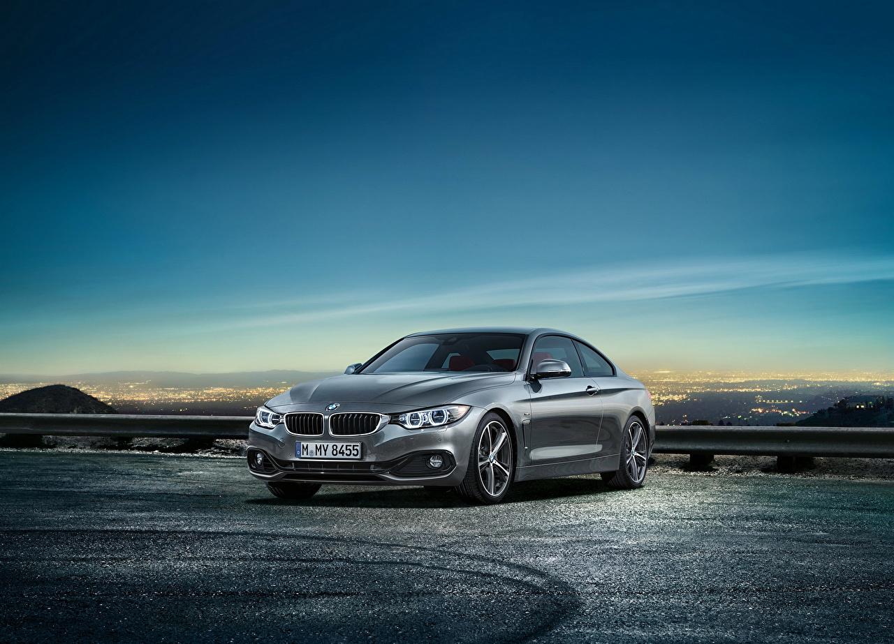 Фотография BMW 2014 4-series coupe серая Небо автомобиль БМВ Серый серые авто машины машина Автомобили