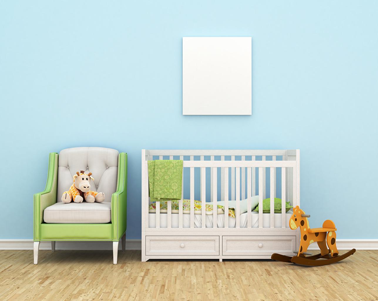 Картинки Детская комната Интерьер Кресло Кровать Игрушки Дизайн