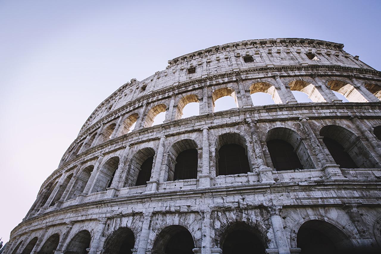 Фотографии Рим Колизей Италия арки Города Арка город