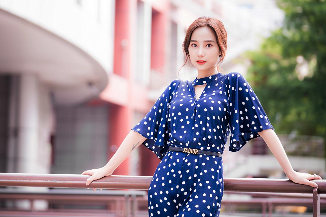 Картинки боке девушка азиатка смотрит платья Размытый фон Девушки молодая женщина молодые женщины Азиаты азиатки Взгляд смотрят Платье