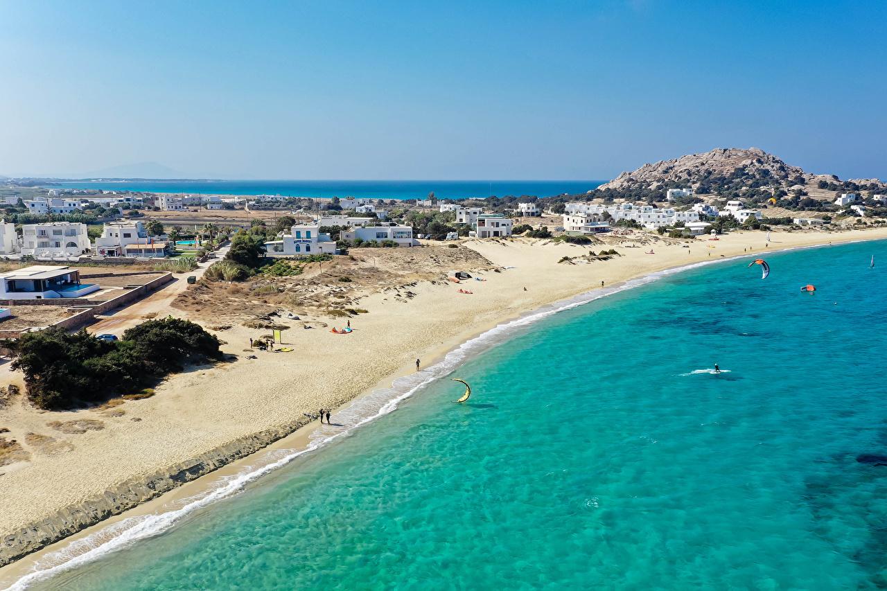 Фотографии Греция Naxos City Пляж Побережье Здания Города пляжа пляже пляжи берег Дома город