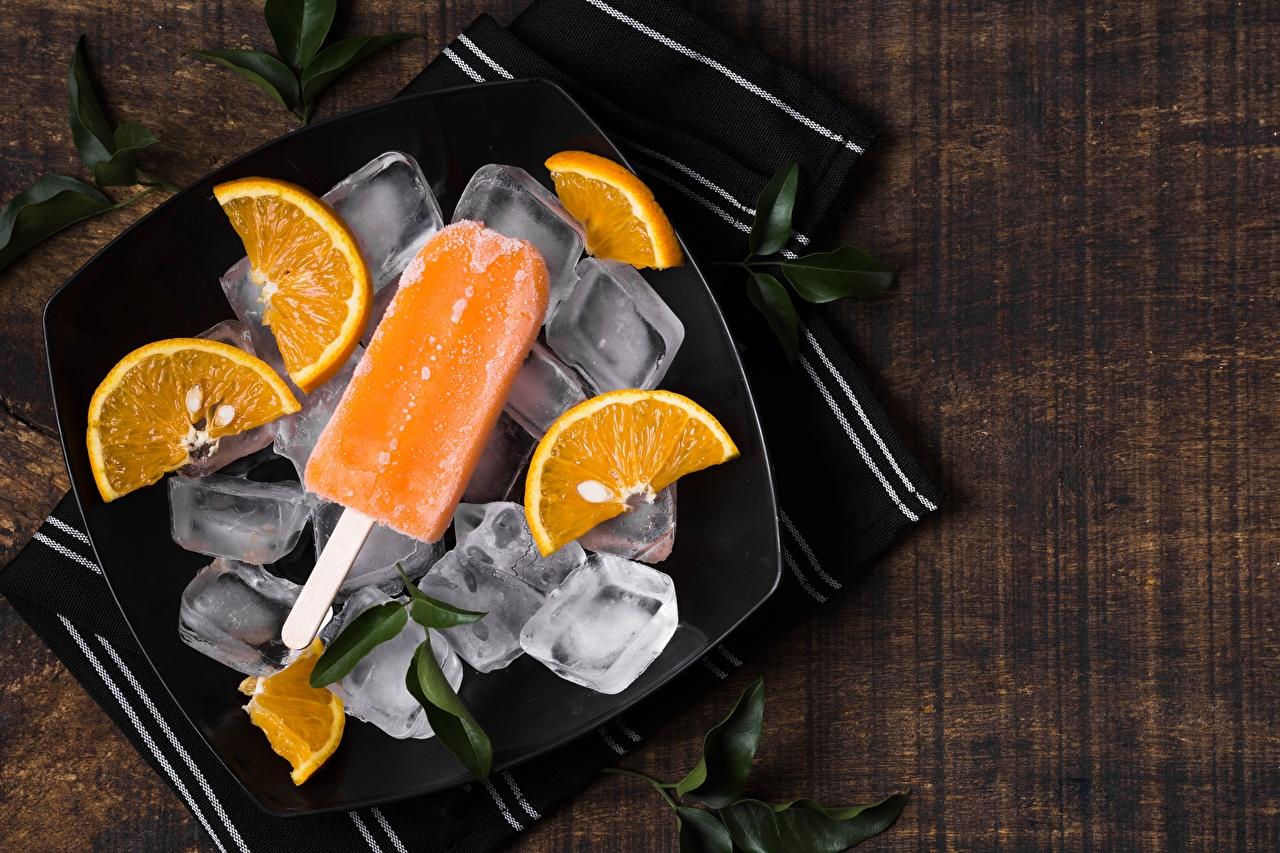 Картинка льда Апельсин Мороженое Пища Тарелка Лед Еда тарелке Продукты питания