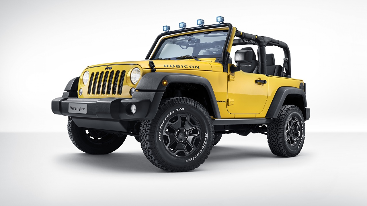 Фотография Джип Wrangler Rubicon желтых авто Jeep желтая желтые Желтый машина машины Автомобили автомобиль