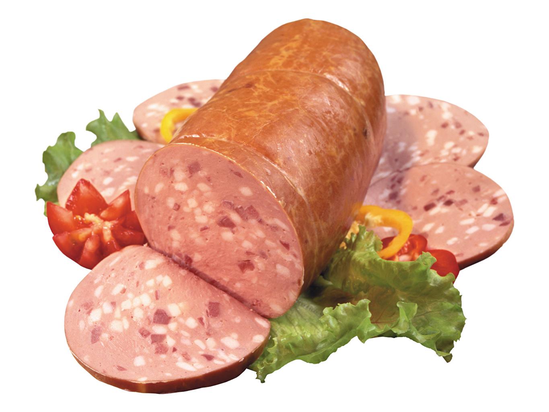 Фото Колбаса Продукты питания Нарезанные продукты белым фоном Мясные продукты Еда Пища нарезка Белый фон белом фоне