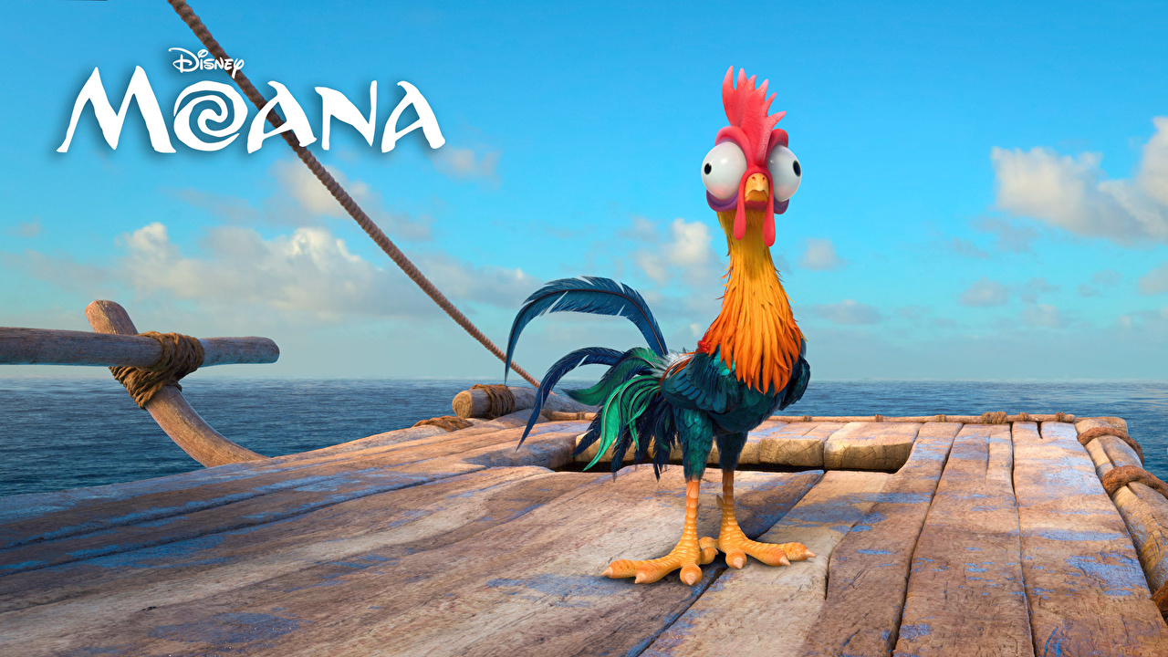Картинка Disney Моана Петух Heihei Мультики Животные Дисней мультик Мультфильмы животное