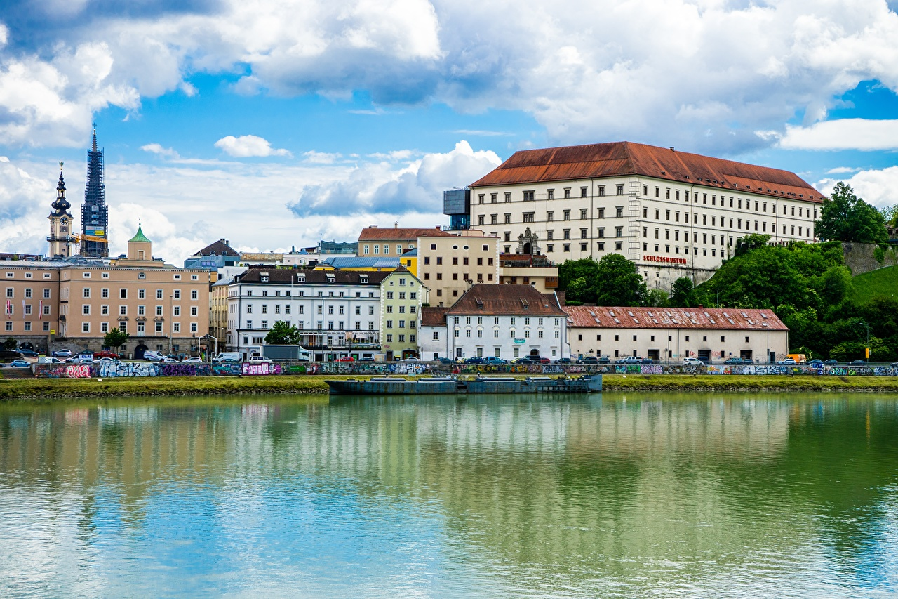 Картинки Австрия Danube, Lentia Apartments, Linz, land Upper Austria Реки Дома Города река речка город Здания