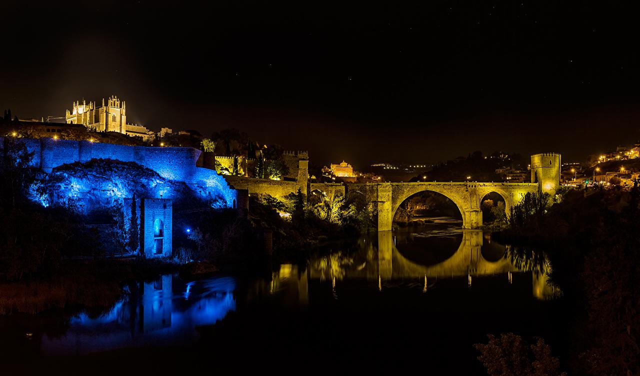 Обои Толедо Испания Мосты Реки Ночные Дома Города Ночь речка Здания