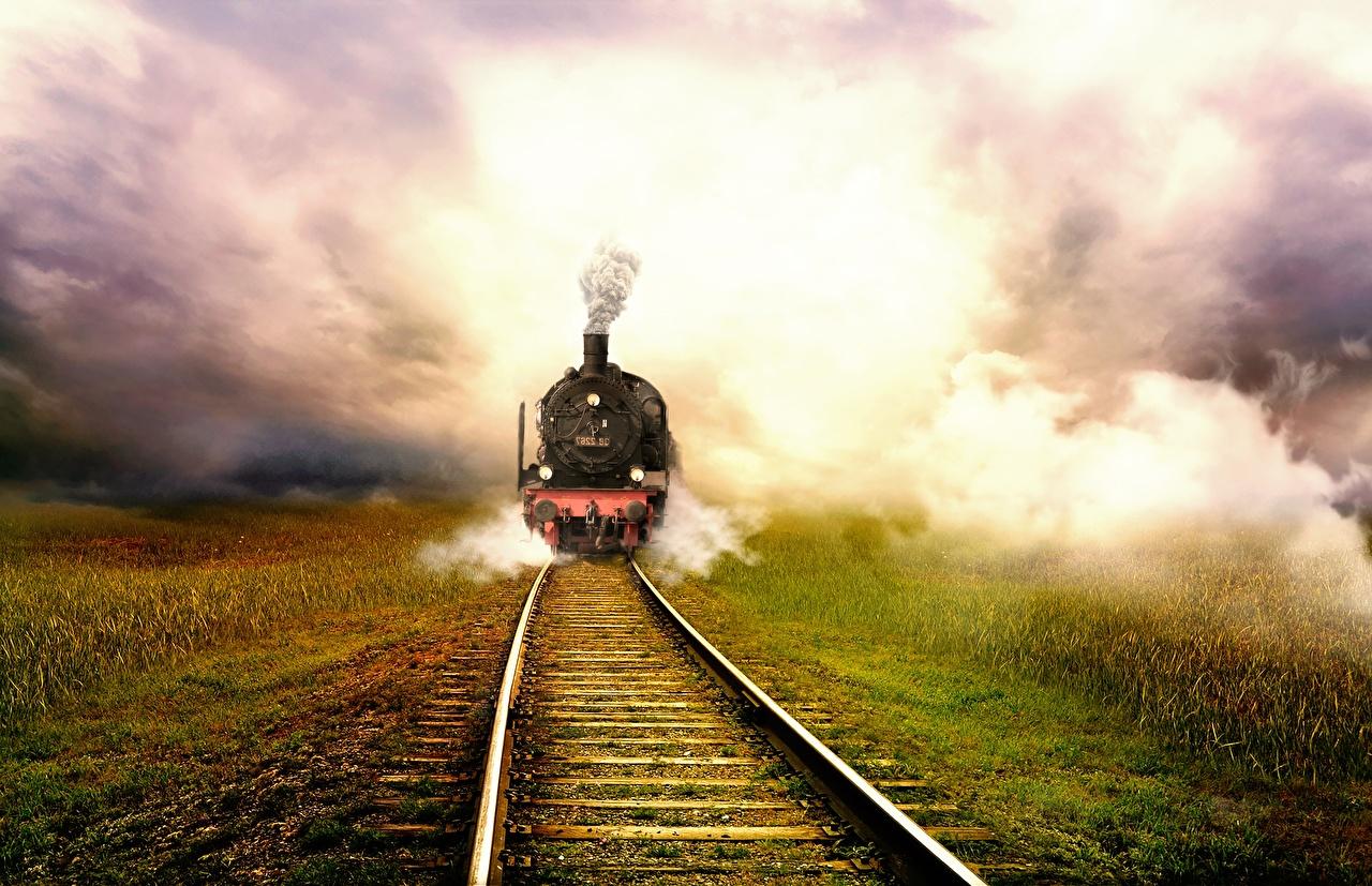 Картинка Рельсы Туман Поезда Трава Железные дороги рельсах тумане тумана траве