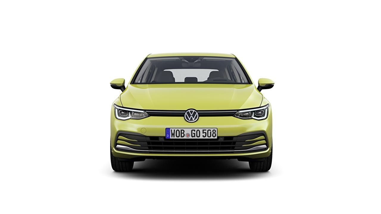 Фотография Volkswagen Golf 8 hatchback авто Спереди Белый фон Фольксваген машина машины Автомобили автомобиль белом фоне белым фоном
