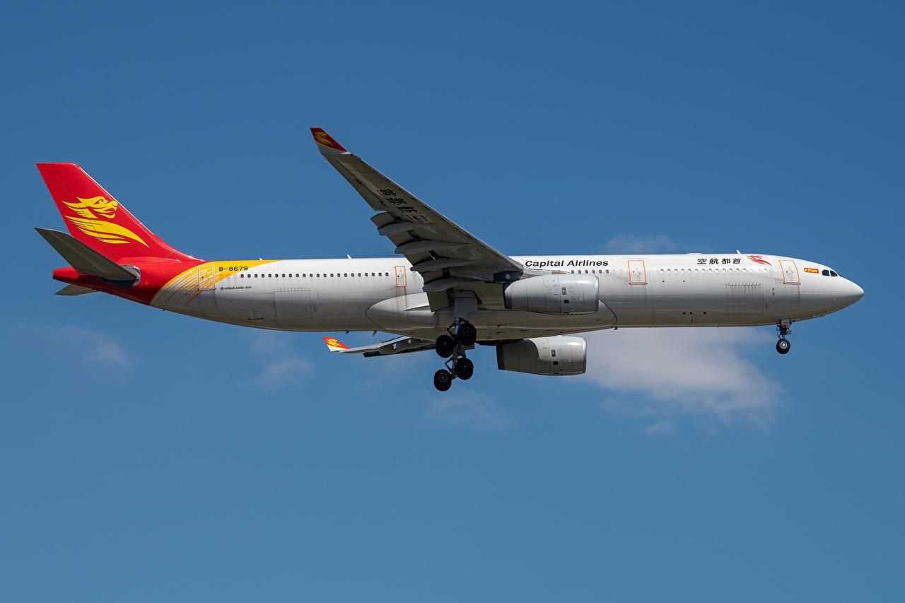 Картинка Эйрбас Самолеты Пассажирские Самолеты Capital Airlines, A330-300 Сбоку Авиация Airbus