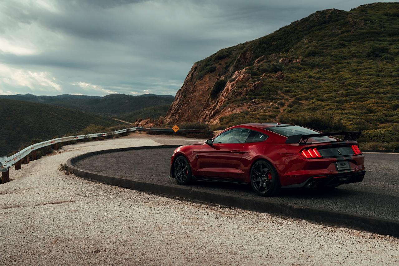 Картинка Ford Mustang Shelby GT500 2019 красная машина Форд красных красные Красный авто машины автомобиль Автомобили