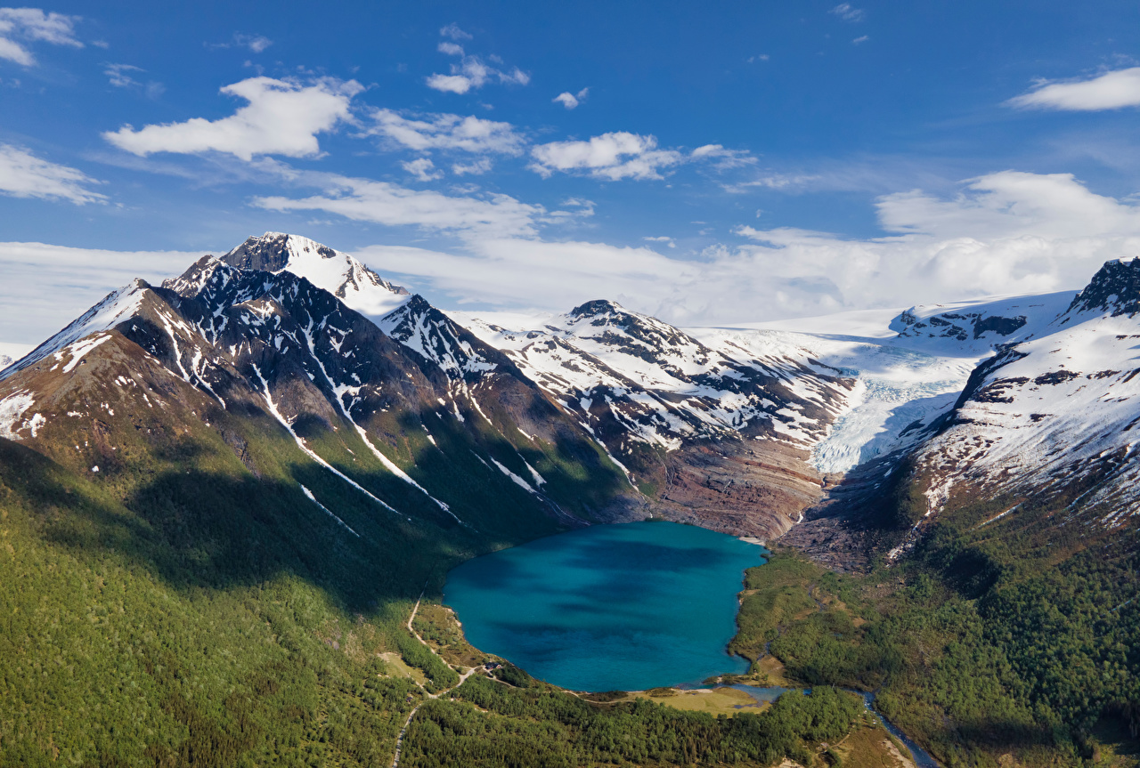 Фото Норвегия Svartisvatnet гора Природа Озеро снеге облако Горы Снег снега снегу Облака облачно