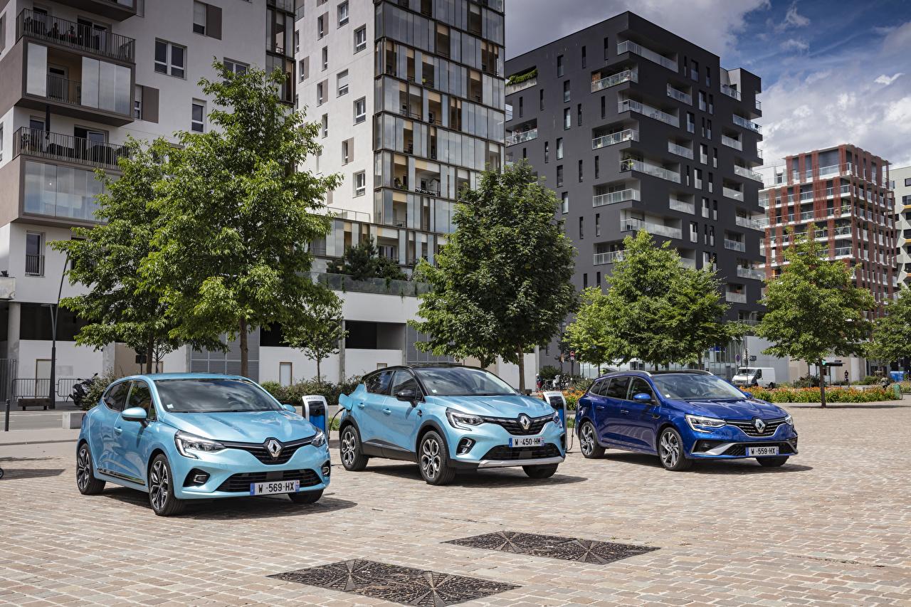Фото Renault Clio, Captur, Mégane Estate авто Трое 3 Рено три втроем машины машина Автомобили автомобиль