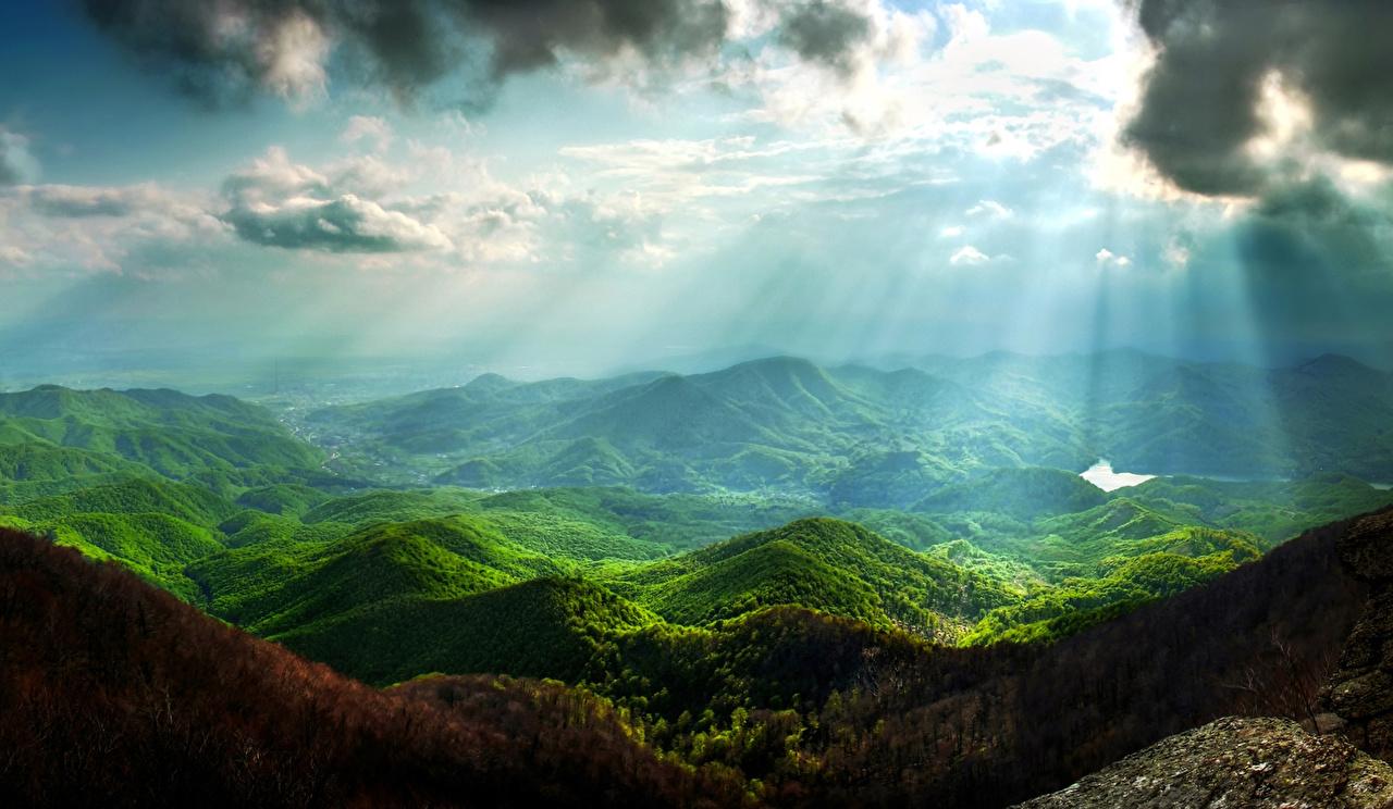 Фото Лучи света Горы Природа Небо Пейзаж Мох Облака