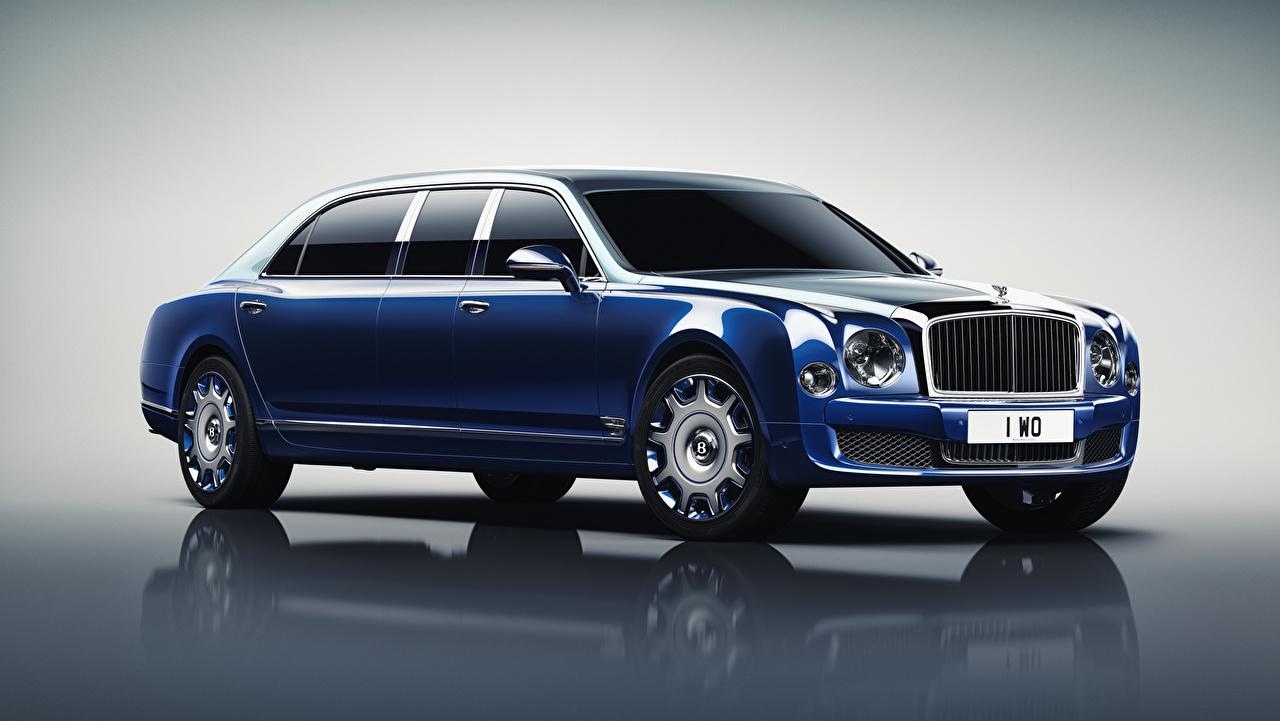 Фото Bentley 2016 Mulsanne Grand Limousine by Mulliner синих авто Металлик Бентли Синий синие синяя машина машины автомобиль Автомобили