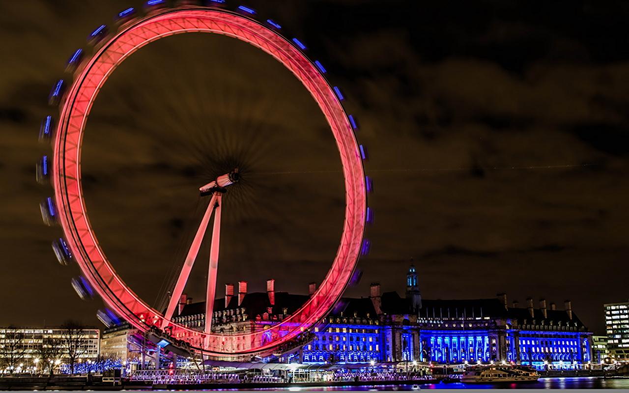 Фотография Лондон Англия Embankment колесом обозрения Ночные Города лондоне Колесо обозрения Ночь ночью в ночи город