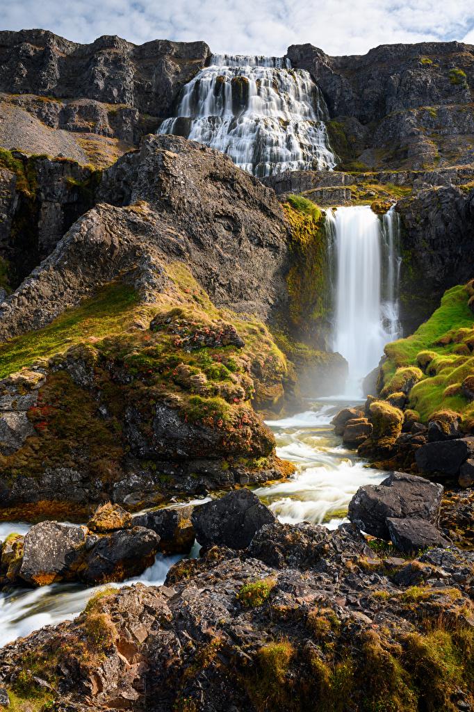 Фото Исландия Dynjandi waterfalls Горы Скала Природа Водопады Реки Камни  для мобильного телефона гора Утес скале скалы река речка Камень