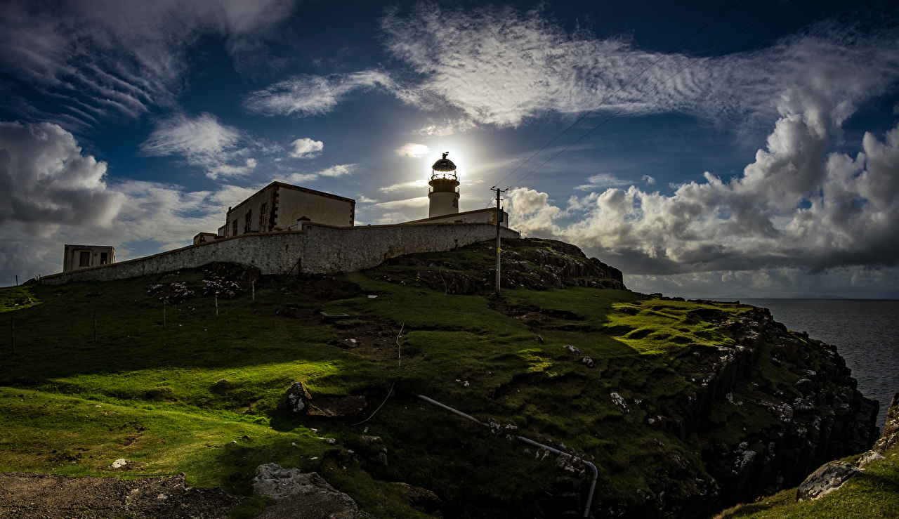 Картинки Шотландия Waterstein Маяки Природа Небо Мох Побережье мха мхом берег