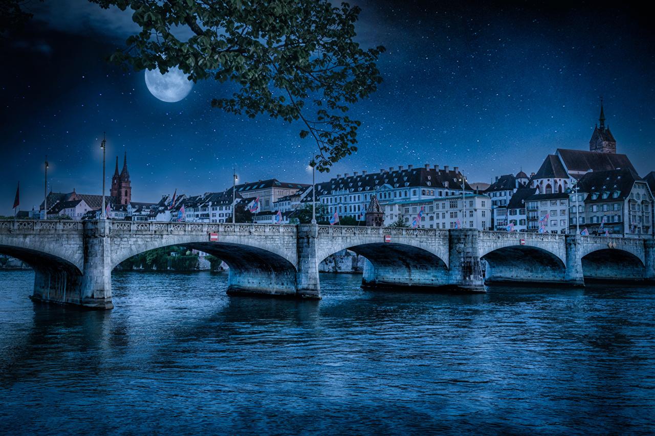 Фото Швейцария Basel мост луной Ночь речка Уличные фонари Дома Города Мосты луны Луна Реки река ночью в ночи Ночные город Здания