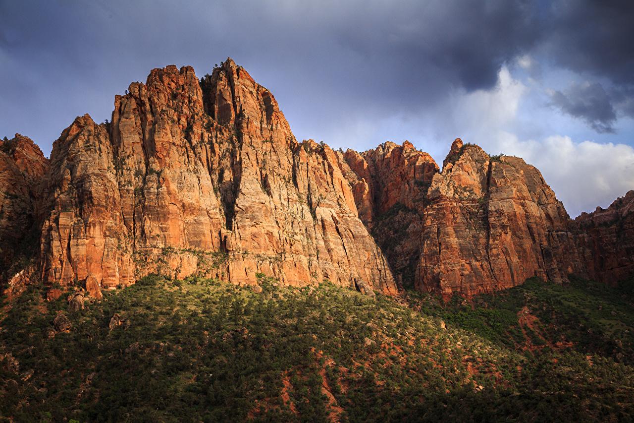 Фотографии Зайон национальнай парк штаты Скала Природа Парки США Утес скалы скале