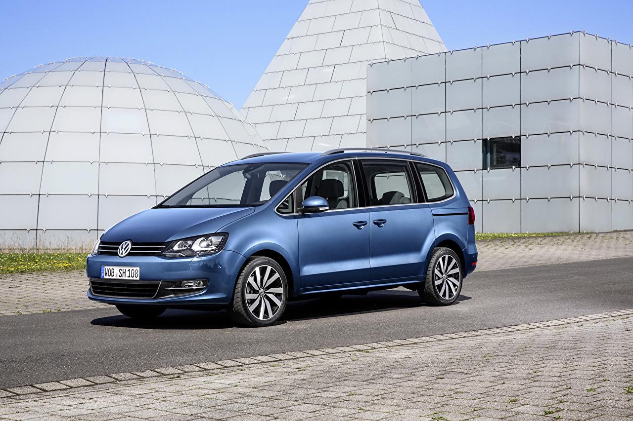 Обои для рабочего стола Volkswagen 2015 Sharan голубые машина Фольксваген голубая Голубой голубых авто машины Автомобили автомобиль