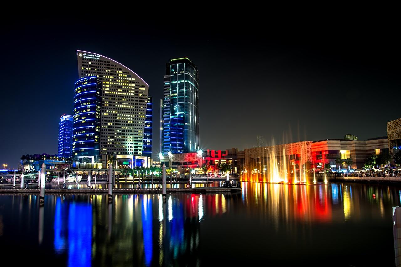 Фотографии Дубай Объединённые Арабские Эмираты Ночные Небоскребы Города ОАЭ Ночь