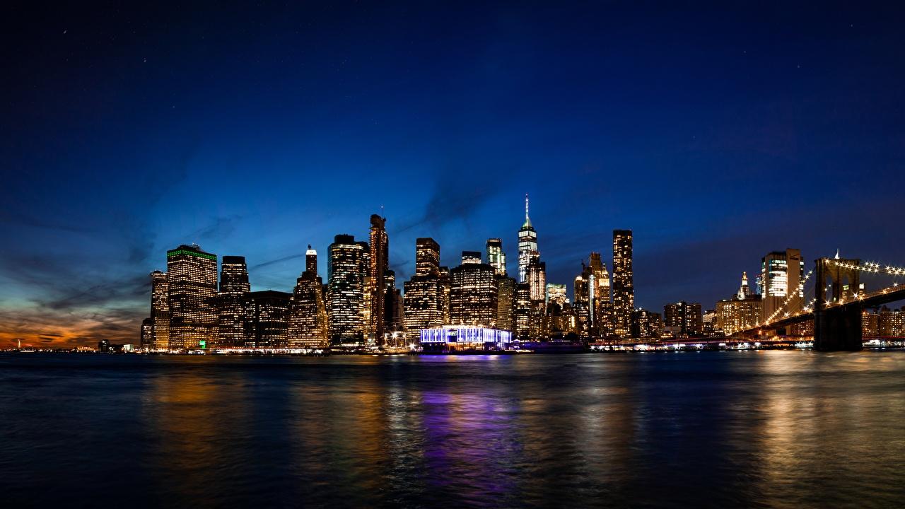 Фото Нью-Йорк Манхэттен америка Ночь Здания Города США штаты ночью в ночи Ночные Дома город