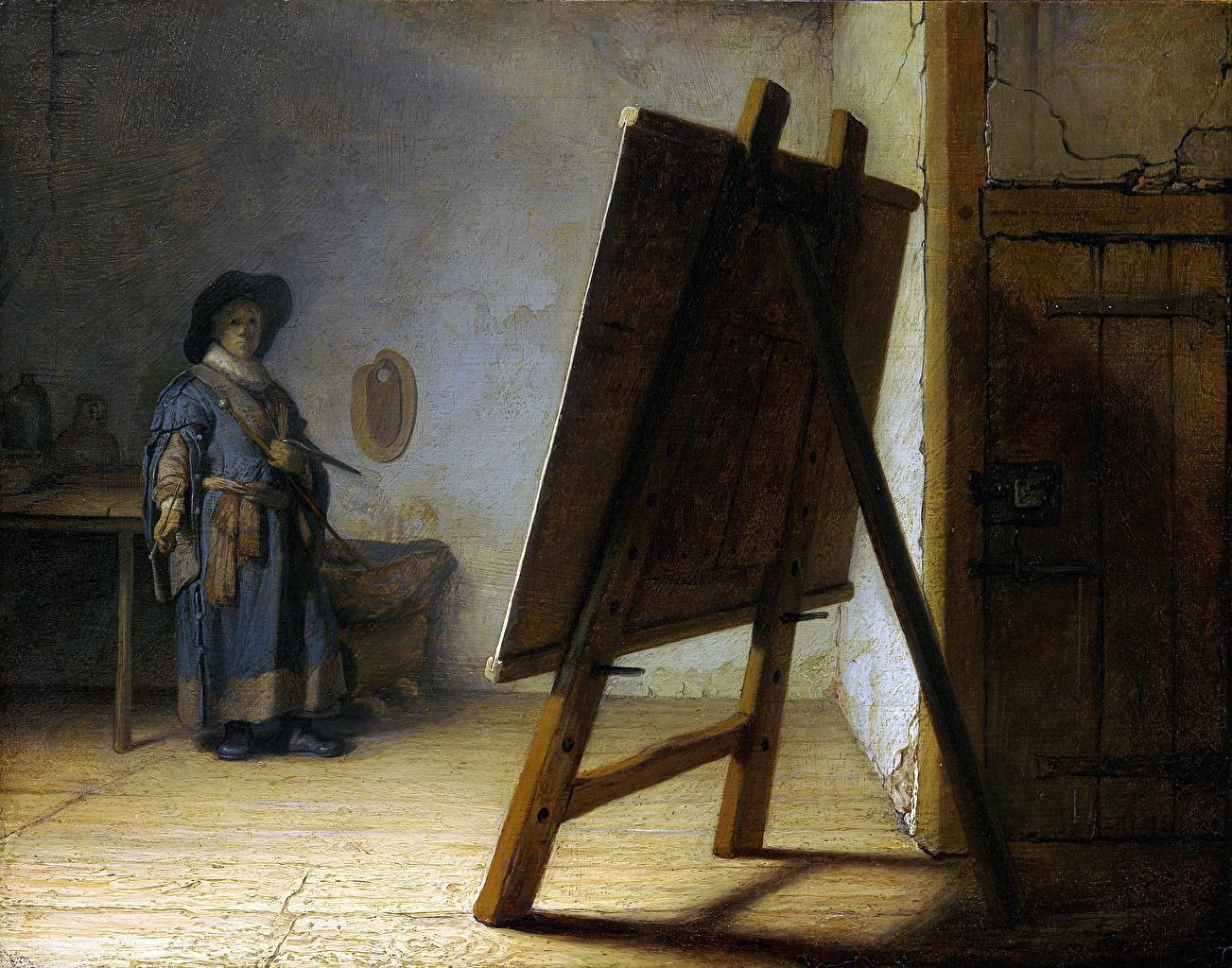Картинки Мужчины Rembrandt Harmenszoon van Rijn, The Artist In His Studio Живопись картина