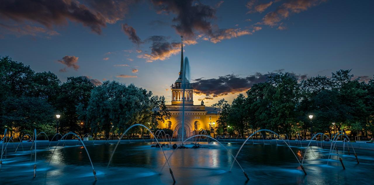 Обои для рабочего стола Санкт-Петербург Россия Фонтаны Alexander Garden Вечер Города город